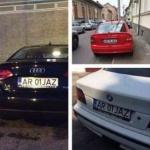 Trei mașini, același număr de înmatriculare