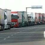 Coloană de camioane la ieşirea din ţară, la PTF Nădlac II