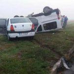 Accident la marginea Aradului. Un microbuz s-a răsturnat