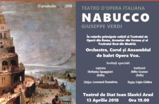 """Opera """"Nabucco"""" de Verdi, pe scena Teatrului Clasic """"Ioan Slavici"""" Arad"""