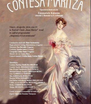 """S-au pus în vânzare biletele pentru Opereta """"Contesa Maritza"""""""