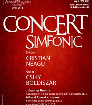 Concert de Brahms la Filarmonica de Stat Arad. Invitați: Csiki Boldizsár și Dorin Tucă