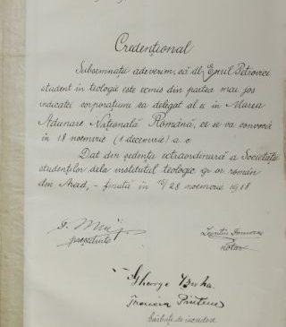 Credenționalele arădenilor care au votat Marea Unire se întorc la Arad