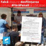USR Arad: Falcă a dispus demontarea cortului #FărăPenali, după o sesizare a PSD