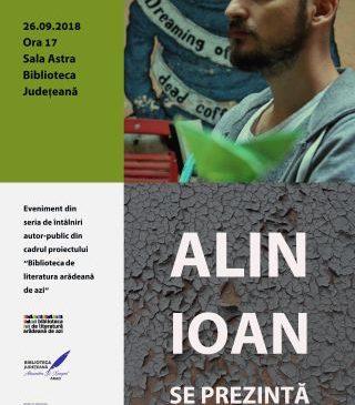 """Întâlniri autor – public, la Biblioteca Județeană. """"Alin Ioan se prezintă"""""""