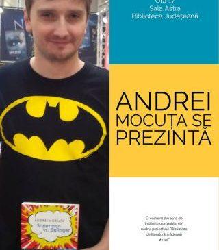 """Întâlniri autor-public la Biblioteca Județeană. """"Andrei Mocuța se prezintă"""""""