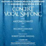 Toamna Muzicală Arădeană. Concert vocal simfonic la Filarmonica de Stat Arad