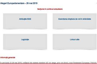 """Rubrica """"Alegeri europarlamentare 2019"""", activată pe pagina de internet a MAE"""