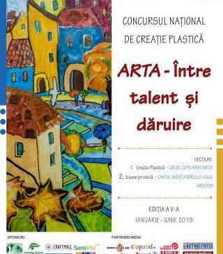 """""""Arta – Între talent și dăruire"""". Concurs pentru elevii din toate ciclurile de învățământ și cluburi de artă"""