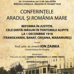 Prof. univ. dr. emerit Ion Zainea va conferenția la Arad