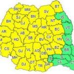 Cod galben de ploi torenţiale, descărcări electrice, vijelii şi grindină, în județul Arad