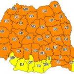 Cod portocaliu de ploi torenţiale şi vânt puternic, în județul Arad