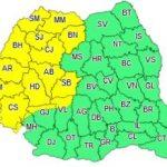 Cod galben de averse şi descărcări electrice în județul Arad