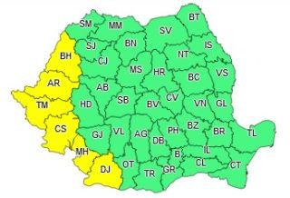 Atenționare meteo. Cod galben de vreme instabilă în județul Arad